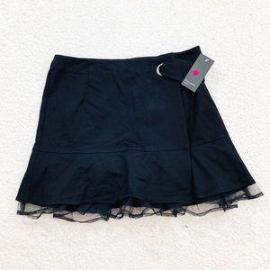 Free press black mesh hem belted skirt